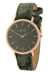 """Ernest horloge """"Rosé-Nox-Velvet"""" donkergroen"""