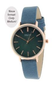 """Ernest horloge """"Rosé-Cindy-Medium"""" blauw"""