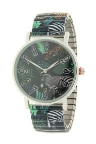 """Ernest horloge """"Zebra"""" donkergroen"""