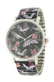 "Ernest horloge ""Crane birds"" zwart"