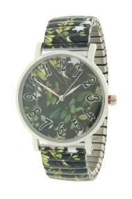 "Ernest horloge ""Flowermix"" donkergroen"