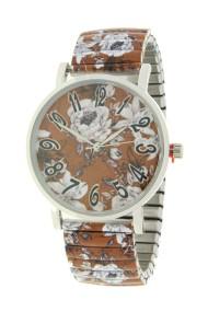"""Ernest horloge """"Flowermix"""" lichtbruin"""