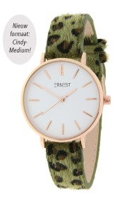 Ernest horloge Rosé-Cindy-Medium FW18 leopard groen