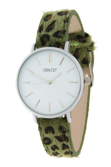 Ernest horloge Silver-Cindy-Medium FW18 leopard groen