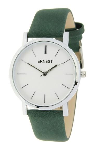 "Ernest horloge ""Silver-Andrea"" donkergroen"