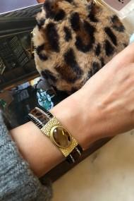 "RVS armband ""Leopard Stone"" bruin-goud"
