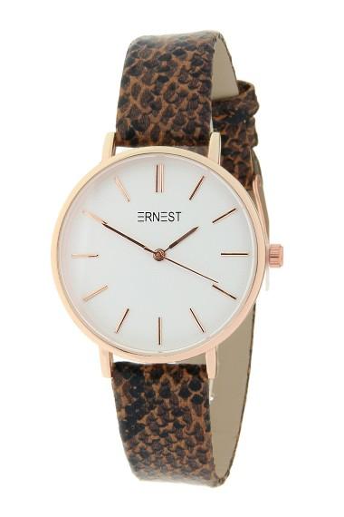Ernest horloge Rosé-Cindy-Medium FW18 Python bruin