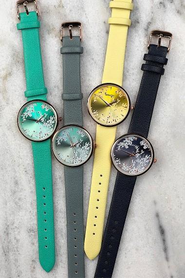 "Ernest horloge ""Rosé-Blossom"" donkerblauw"