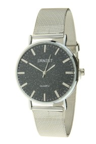 "Ernest horloge ""Grace"" zilver-glitter-zwart"