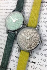 """Ernest horloge """"Livia-Lizard"""" geel"""