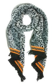"""Omslagdoek """"Long Leopard"""" grijs"""