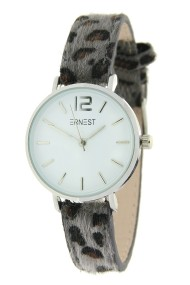 "Ernest horloge Silver-Cindy-Mini"" leopard grijs"