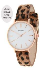 "Ernest horloge Rosé-Cindy-Medium"" leopard bruin"