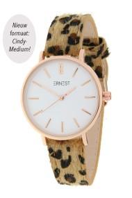 "Ernest horloge Rosé-Cindy-Medium"" leopard camel"