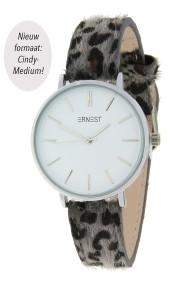 "Ernest horloge Silver-Cindy-Medium"" leopard grijs"