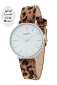 "Ernest horloge Silver-Cindy-Medium"" leopard bruin"