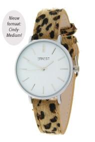 """Ernest horloge Silver-Cindy-Medium"""" leopard camel"""