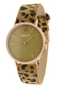 """Ernest horloge """"Rosé-Cindy-Leopard"""" camel-olijf"""