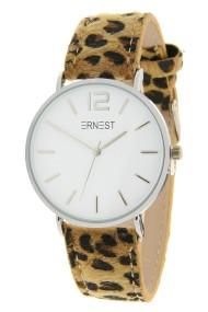 """Ernest horloge """"Silver-Cindy-Leopard"""" camel-wit"""