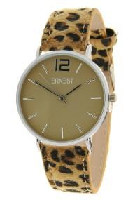 """Ernest horloge """"Silver-Cindy-Leopard"""" camel-olijf"""