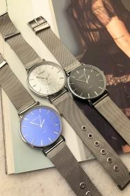 "Ernest horloge ""Romina"" zilver glitter zwart"