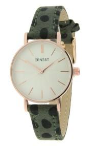 "Ernest horloge ""Mini-Misty-Cheetah"" donkergroen"