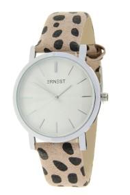 "Ernest horloge ""Silver-Andrea-Cheetah"" beige"