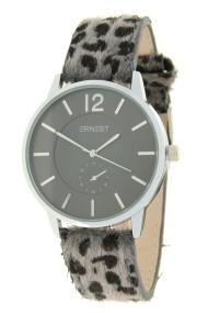 "Ernest horloge ""Silver-Brandy-Leopard"" grijs"