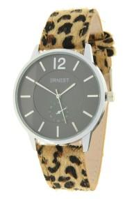 """Ernest horloge """"Silver-Brandy-Leopard"""" camel"""
