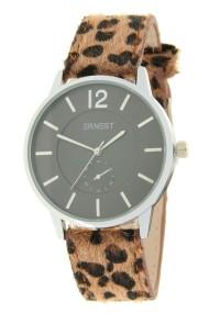 """Ernest horloge """"Silver-Brandy-Leopard"""" bruin"""