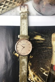 """Ernest horloge """"Rosé-Nox-Velvet"""" khaki"""