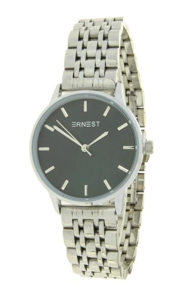 """Ernest horloge """"Leah"""" zilver-zwart"""