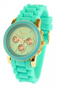 """Souris D'or horloge """"Gold"""" turquoise"""
