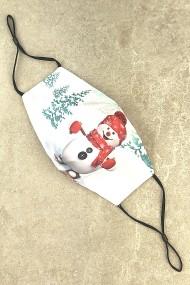 """Kerst mondkapje """"M3"""" sneeuwpop in sneeuwlandschap"""