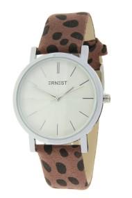 """Ernest horloge """"Silver-Andrea-Cheetah"""" bruin"""