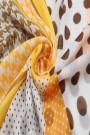 """Sjaal """"Dots & Pied de Poule"""" geel"""