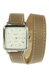 """Ernest horloge """"Double Wrap"""" taupe"""