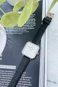 "Ernest horloge ""Croco-Square"" zwart"