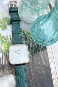 "Ernest horloge ""Croco-Square"" groen"
