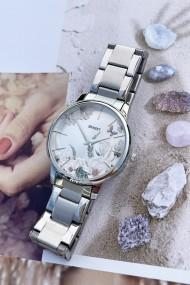"""Ernest horloge """"Flower-Feline"""" zilver"""