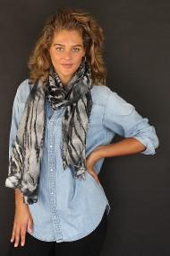 """Sjaal """"Lisa-Leopard"""" grijs"""