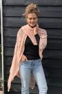"""Gehaakte sjaal/overgooier """"Crochete"""" pink"""