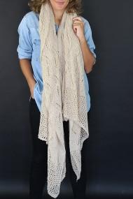 """Gehaakte sjaal/overgooier """"Crochete"""" beige"""