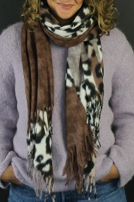 """Sjaal """"Wooly Leopard"""" taupe"""