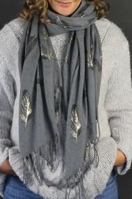 "Sjaal ""Gold-Feathers"" grijs"