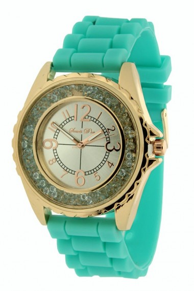 """Souris D'or horloge """"Rosé Glitzzz"""" turquoise"""