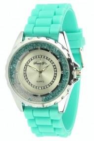 "Souris D'or horloge Silver Glitzzz"" turquoise"