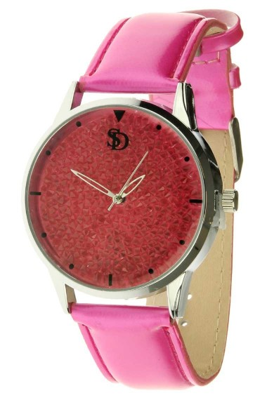 "Souris D'or horloge ""SPARKLE"" fuchsia"