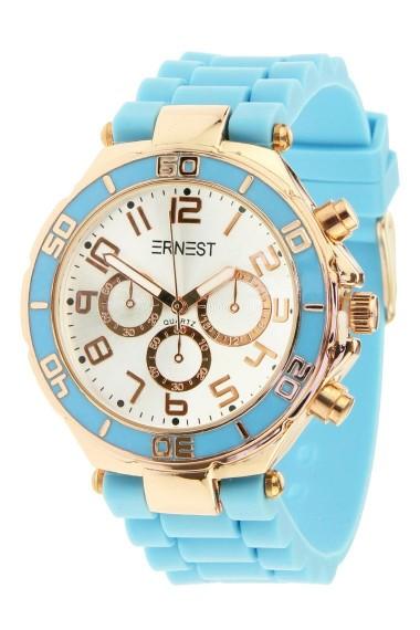 """Ernest horloge """"Rosé"""" lichtblauw"""