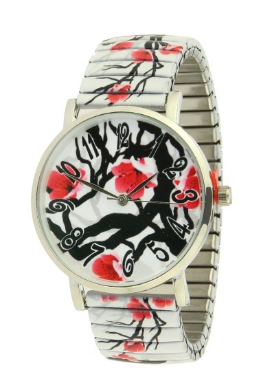 "Ernest horloge ""China Blossom"" zwart-rood"